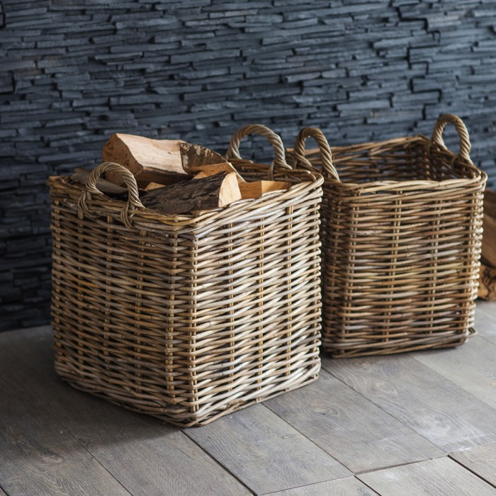 "Kaminholz-Korb ""Square Log Basket – Rattan"" – 2er Set"