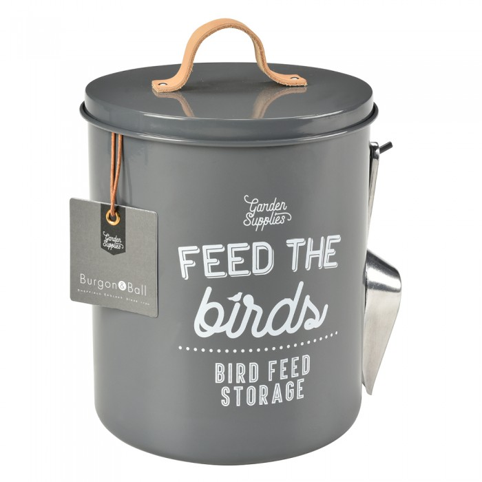 "Vogelfutterdose ""Feed the birds"" - Grau"