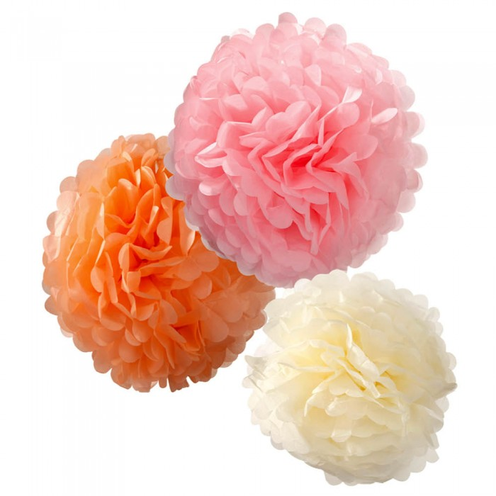 PomPoms Pastel-Mix, 3er-Set