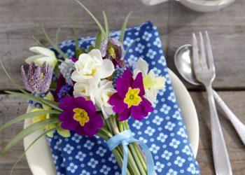 Mit solch einem niedlichen Sträußchen aus Schachbrettblumen, Narzissen, Perlhyazinthen, Vergißmeinicht und Primeln machen Sie Ihren Lieben eine große Freude. Damit der Strauß nicht welkt, sollten Sie ihn erst kurz vor dem Eintreffen der Gäste auf den Teller legen.