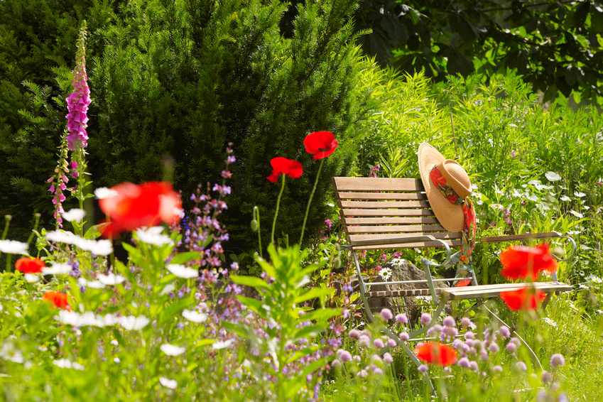 Garden Bench With Straw Hat Within Summer Flowers 01