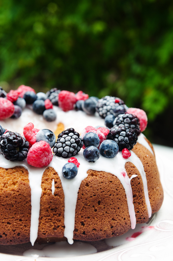 Gourmet dessert cake with berries